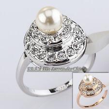 A1-R275 Fashion Pearl Ring 18KGP Rhinestone Crystal Size 5.5-9