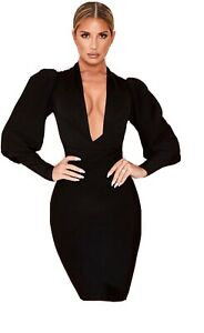 House Of CB Annika Dress Black Size Small With Box Worn Once RRP £129