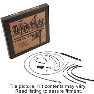 """Burly Brand Handlebar Brake Clutch Cable Kit 16"""" Stainless Softail M8 ABS 18-Up"""