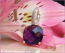 KLASSISCH ELEGANT: Amethyst Anhänger mit Diamanten, 3,30 ct. GG-585, 455€