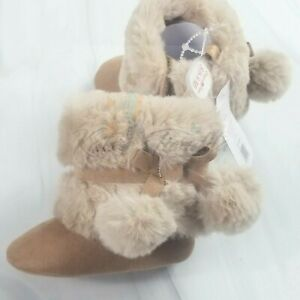 First Steps Baby Girl Chestnut Microsuede Pom Faux Fur Booties Caramel Size 3