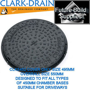 450mm Inspection Manhole Cover Chamber DualLock Plastic Cover & Frame Round 3.5T
