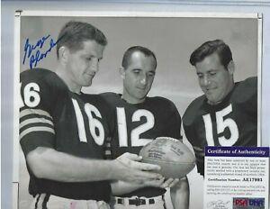 George Blanda Autographed 8x10 B&W Photo Chicago Bears Football HOF PSA COA 1958