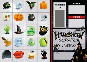 HALLOWEEN SCRATCH CARDS  20 PICTURES - FUNDRAISING - FOOTBALL