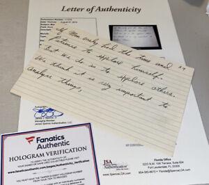 Muhammad Ali Hand Written Speech Large Index Card JSA Fanatics Historical Rights
