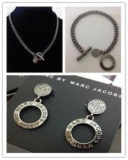 MARC BY MARC JACOBS HOLLOW BLACK LETTERS LOCK BRACELET EARRINGS NECKLACE #J0073