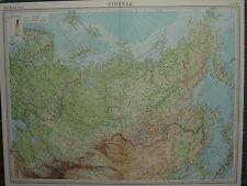 1920 LARGE MAP ~ SIBERIA MONGOLIA TOBOLSK KOREA RUSSIA FINLAND