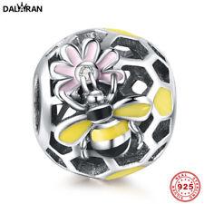 DALARAN Regenbogen Emaille Bee Blume Perlen 925 Sterling Silber Charms Schmuck