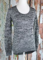 Ultra Flirt Women's Waffle Knit V-Neck Pullover Sweater Top L/S Marled Hi-Lo XS