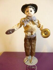 "Antique 19th century mechanical doll  symbols 12"" papier mache head wood limbs"