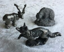 Lot of 3 assorted vintage pewter wild animal figurines Canada Norway England