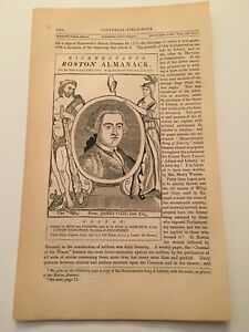 K38) James Otis Jr Portrait Massachusetts American Revolution 1860 Engraving