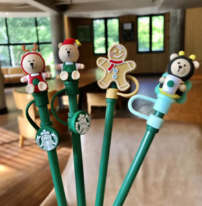 Starbucks Universal Recyclable Dustproof Christmas Gift Straw Plug Topper