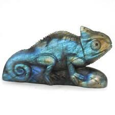 "Chameleon Natural Gemstone Labradorite Lizard Carved Animal Statue Decor 4.17"""