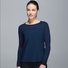 NWT $108 LULULEMON 10 OUT OF THIS WORLD LS TOP SHIRT INKWELL NAVY BLUE YOGA