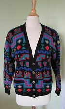VTG. L.L. BEAN WOOL SILVER BUTTON CARDIGAN V-Neck Geometric Colorful SWEATER.