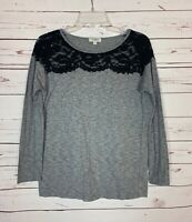 Umgee Boutique Women's S Small Gray Black Lace Long Sleeve Cute Spring Top Shirt