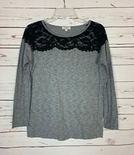 Umgee Boutique Women's S Small Gray Black Lace Cute Fall Long Sleeve Top Shirt