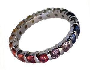 R130 Genuine 9K, 10K, 18K Gold Natural  Rainbow Sapphire Full Eternity Ring
