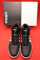 Adidas Hoops 2.0 Mid Black White Scarlet Leather Basketball Mens Shoes Size 10