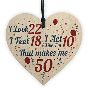 Funny 50th Birthday Gifts For Men Women 50th Decorations Wooden Heart Keepsake