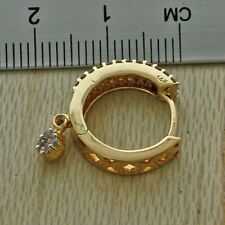 British Hallmarked 9ct Gold 0.86ct Diamond Huggie Hoops Earrings £1250 {JJ37}