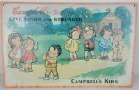 Vintage Campbells Soup Kids Advertising Tin Sign 1991 Nostalgia Series