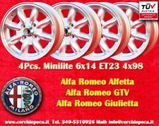4 Cerchi Alfa Romeo Minilite 6x14 ET23 4x98 Wheels Felgen Llantas Jantes