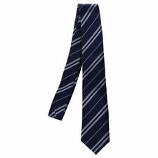 Mens Casual Slim Neck Tie Navy Blue w/ Silver Grey Stripes R7H8