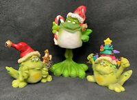 Vintage Douglas Christmas Frog Figurines Signed Set of 3 Russ Bobble (inv:a23)