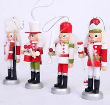 Set of 4 Wooden Nutcracker Red White Soldier Model Figurine xmas gift Decor 13cm