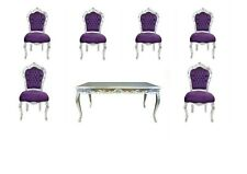TABLE + 6 CHAIRS FRANCE BAROQUE STYLE DINING ROYAL CHAIR SILVER / PURPLE