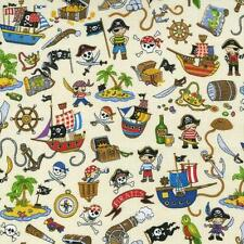 Fat Quarter Treasure Island Pirates Ships All Over Cotton Quilting Fabric Nutex