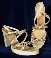 Never Worn! Boy Italian Leather & Snake Platform Sandal Heels in Beige 39.5 9 M