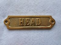 "Solid Brass ""Head"" Door Sign ~ Nautical Boat Bath Decor"