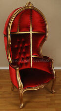 Gold Finish Porter Chair - Balloon, Bonnet, Canopy, Dome, Egg Shape, Gothic Red