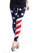 Women's Patriotic Leggings Diagonal Print American US Flag Slim Pants Leggings
