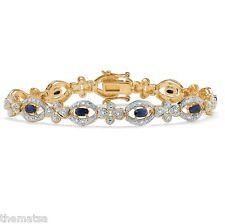 14K YELLOW GOLD GP MIDNIGHT BLUE SAPPHIRE AND DIAMOND ACCENT  BRACELET