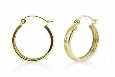 14K Gold Hoops - 14K Yellow Gold Flat Style Stamped Hoop Earrings 16 x 3 mm