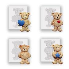 Moules silicone-quatre ours en peluche-plat soutenu mini sculptures-sécurité alimentaire