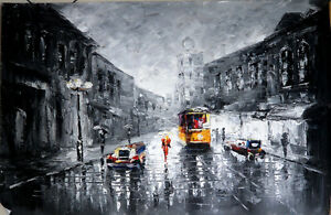 Grey skies oil painting NOT a print or poster. love, rain, umbrella, hope, Italy