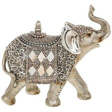 Silver Pearl Elephant Large 20cm Statue Ornament Figurine