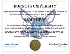 CHARLOTTE HORNETS PERSONALIZED DIPLOMA, GREAT GIFT