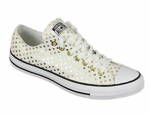 CONVERSE ALL STAR CT OX UNISEX MEN SIZE 8 = WOMEN SIZE 10 SHOES WHITE/GOLD NEW