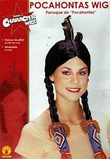 Native American Indian Girl South Western Pocahontas Schwarz Haar Perücke Kostüm NEU