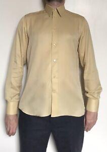 Mens Vintage Bijan 100% Silk Long Sleeve Shirt Italy Yellow Medium