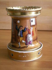 MID 19TH CENTURY VEILLEUSE WARMER BASE HAND PAINTED WITH TWO DANCERS