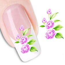 Nail Art de transferencia de agua Pegatina Calcomanías Pegatinas Flores de color rosa (DX1150)