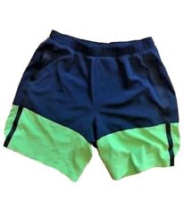 "LULULEMON Mens Athletic Shorts Navy Blue/Green 9"" size L  EUC Run Gym Swim Surf"