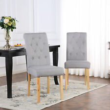 c0a2ac1919 4 x DELUXE FABRIC DINING LIVING ROOM CHAIRS SCROLL HIGH BACK LIGHT GREY